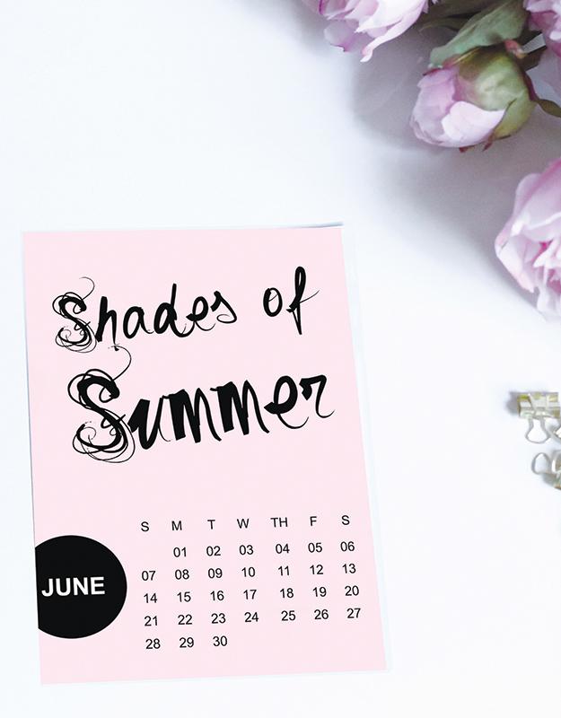 Shades of Summer – Free Printable Calendars