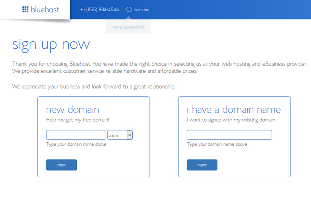 Bluehost Domain Name Sign Up Now page
