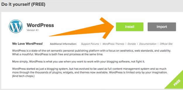 Wordpress DIY Install Button