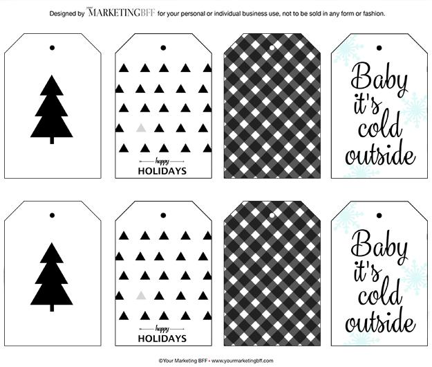 modern chic Christmas gift tags 2015