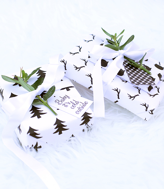 Modern Christmas Gift Tags and modern wrapping paper