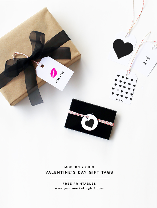 Modern Chic Valentines Day Gift Tags