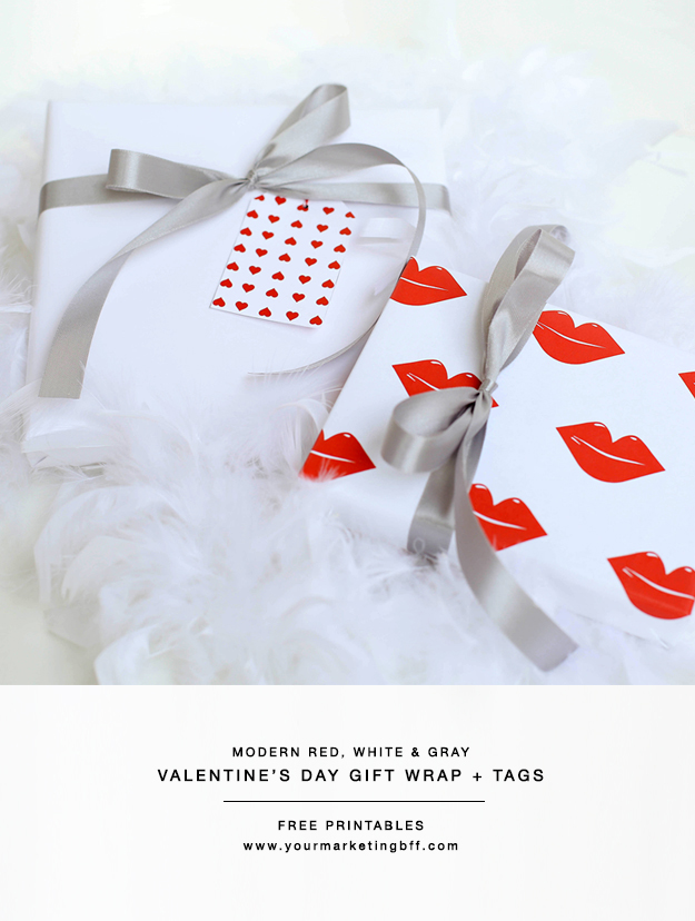 Modern Valentines Day Gift Wrap and Tags free printables