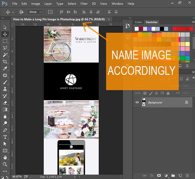 How to make a Long Pin image in Photoshop - name image for seo