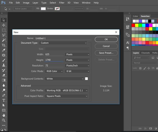 Long Pin image creation - create image size