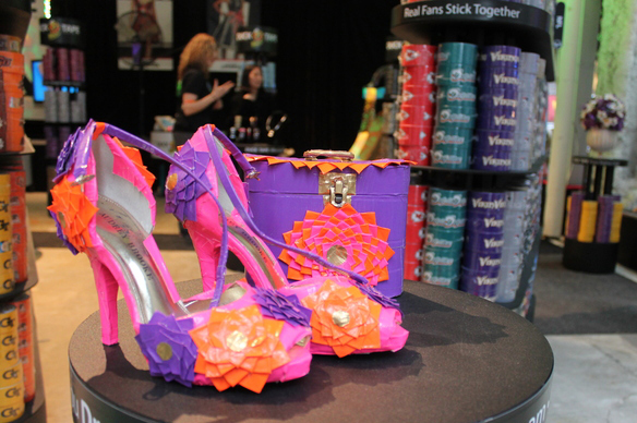 shoe display out of duct tape