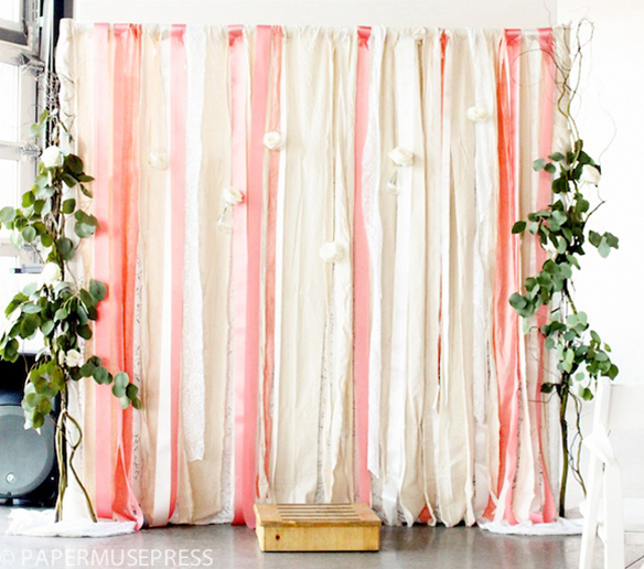 DIY fabric and ribbon backdrop