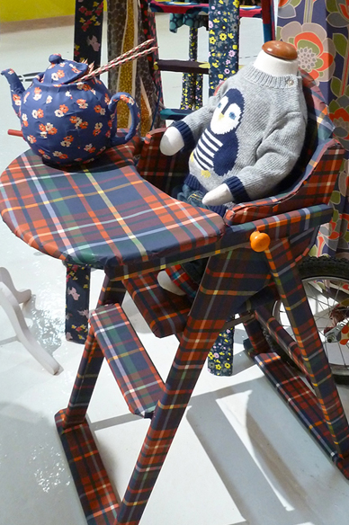 Highchair wrapped in Boden print