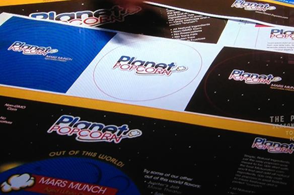 Planet Popcorn logo and packaging design mock up