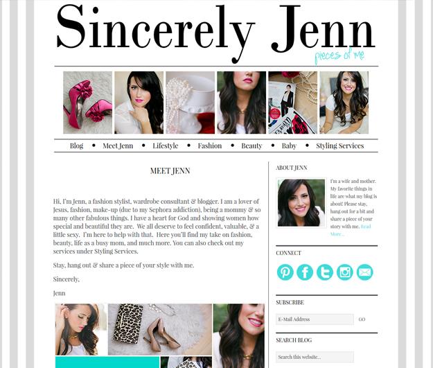 Sincerely Jenn Blog Design