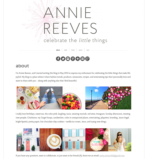 Annie Reeves about page v1