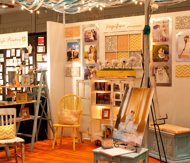 Magnifique trade show bridal booth shabby chic