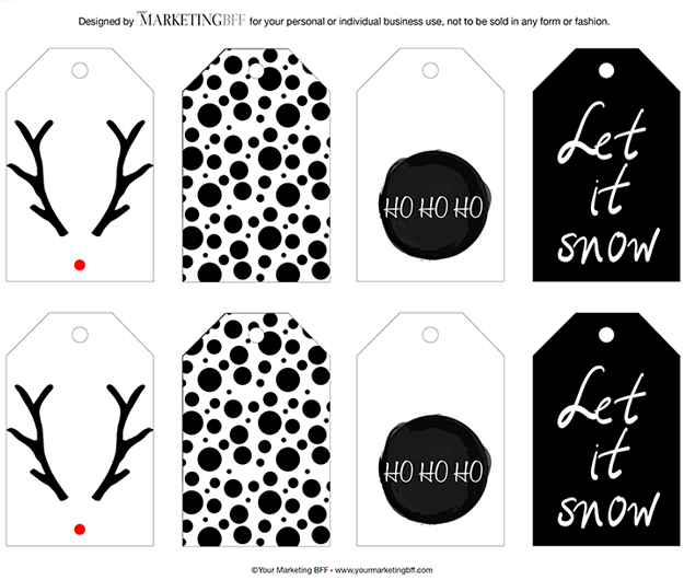 modern chic Christmas gift tags