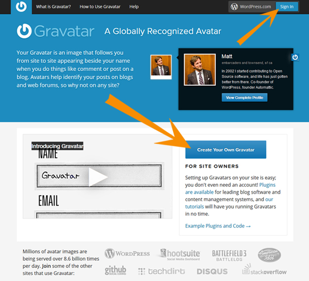 Gravatar sign in page