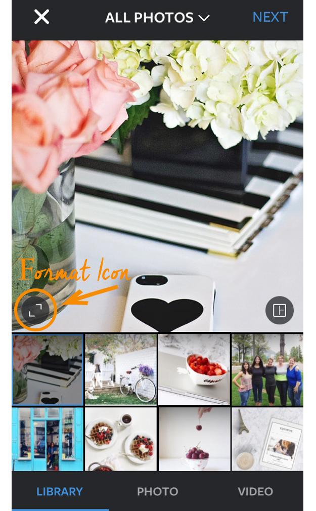 Instagram Format Icon Option