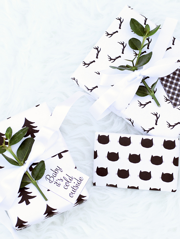 free modern chic Christmas gift tags and wrapping paper 2015