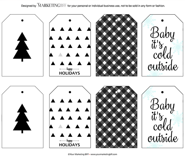 image regarding Printable Christmas Tags Black and White called Impressive Getaway Present Tags :: No cost Printable