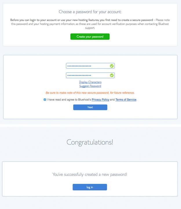 Create a Password screenshots