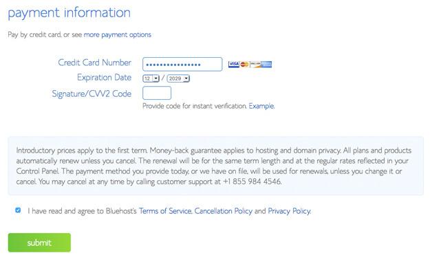 payment info screenshot