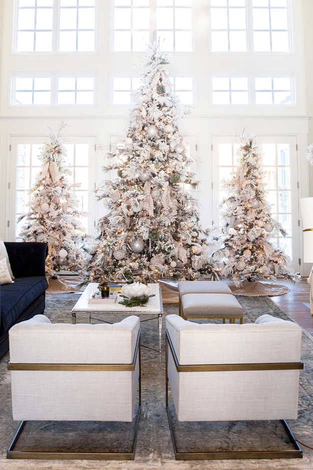 neutral white christmas home decor flocked tree