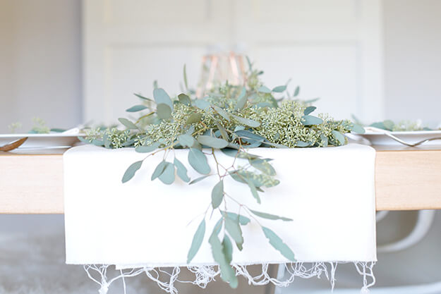 Beautiful natural seeded eucalyptus table runner