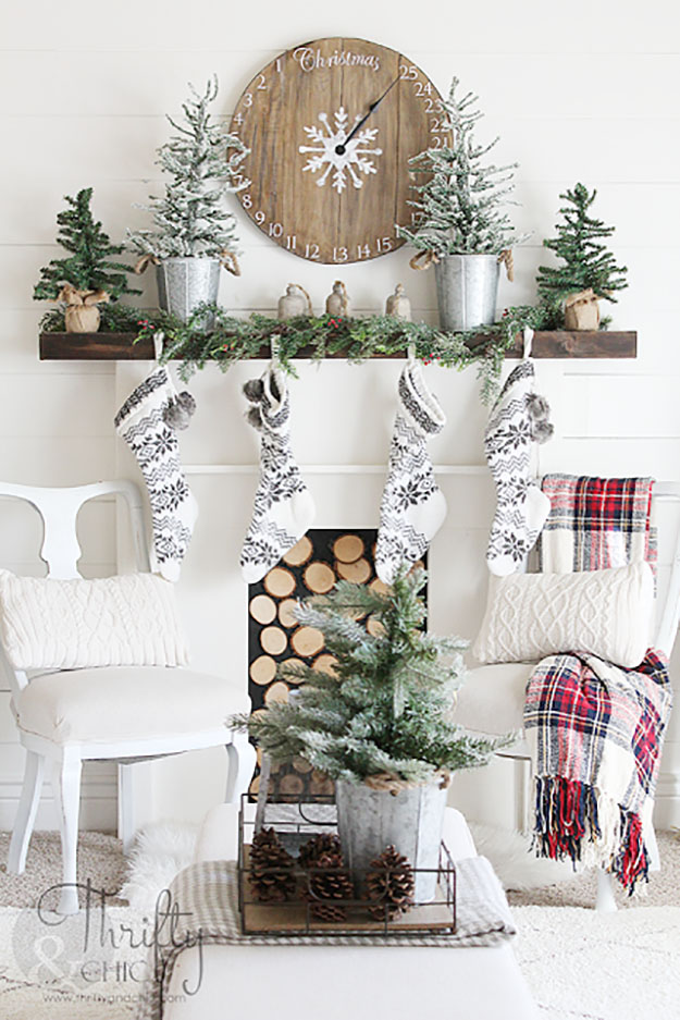 red plaid neutral black and white christmas decor