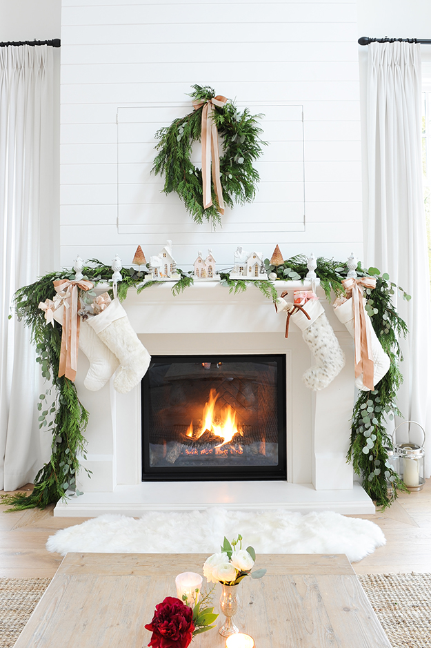 gorgeous neutral pink blush christmas decor fireplace mantle