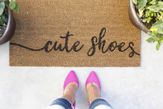 Custom made Stencil DIY painted doormat cute shoes