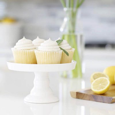 vanilla bean cupcakes filled with lemon buttercream frosting
