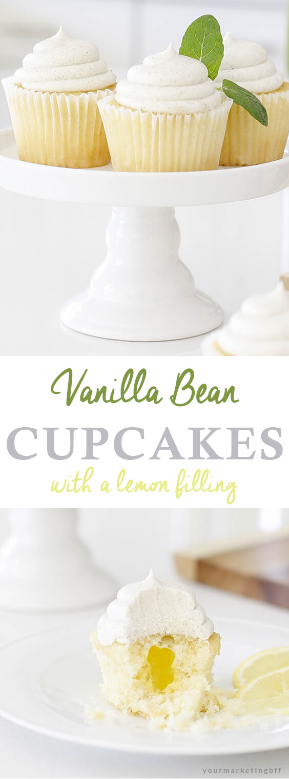 vanilla bean cupcakes filled with lemon topped with buttercream frosting