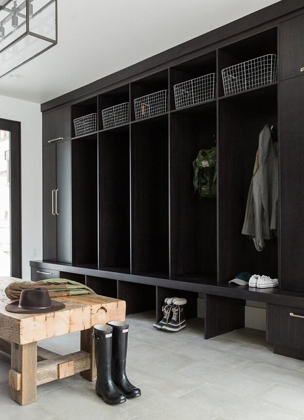 Dark colored inspiring mud rooms