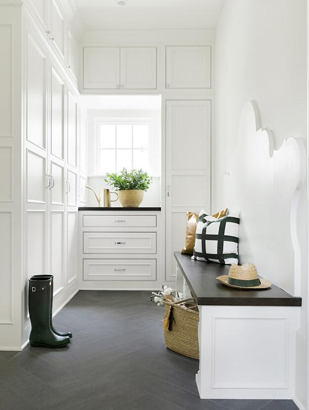 Stylish white inviting mud rooms