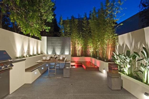 beautiful backyard oasis ideas colored lights