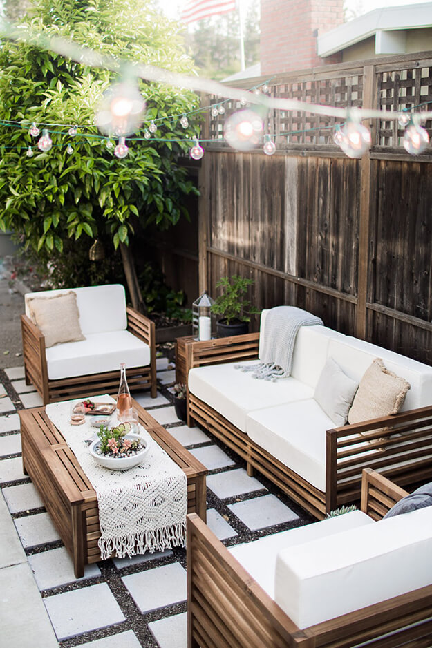 beautiful backyard oasis ideas string lights