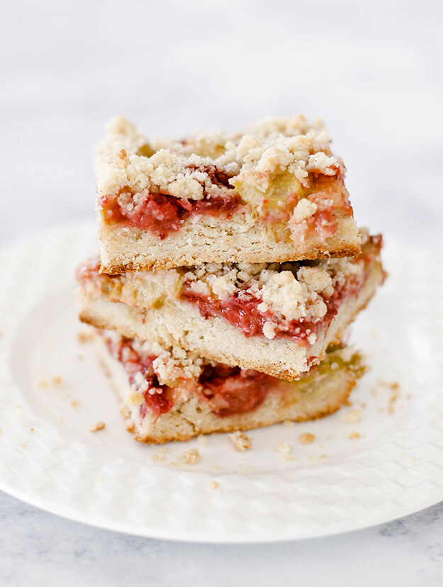 Strawberry Rhubarb Crumb Bars Dessert Recipe