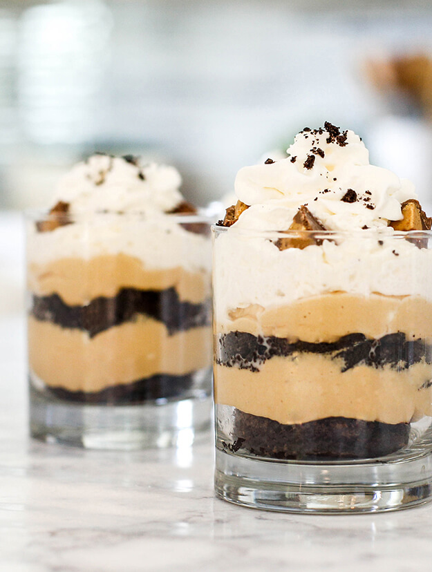 mini dessert peanut butter brownie cheesecake parfaits