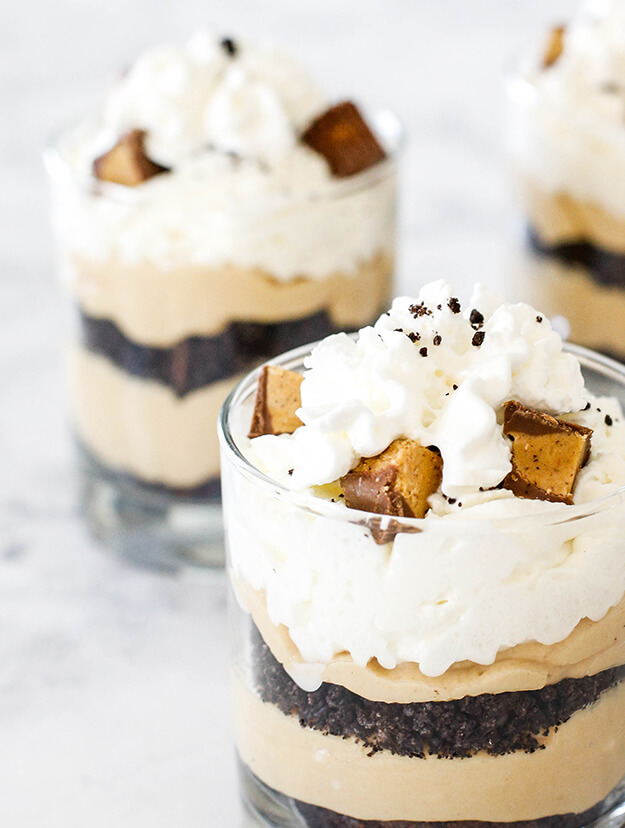peanut butter brownie cheesecake parfaits