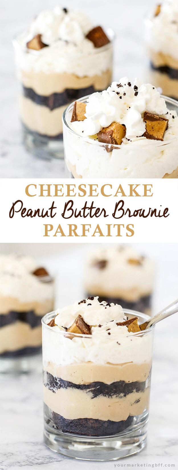 peanut butter brownie cheesecake parfaits
