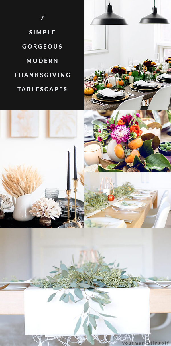 7 Simple Gorgeous Modern Thanksgiving Tablescapes-long pin