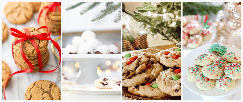 A bunch of different types of food on a table, with Christmas cookie and Snowball cookies