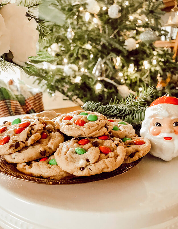 chocolate chip m and m cookies-our vintage farmhouse