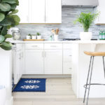 diy painted kitchen rug blue and white-feature