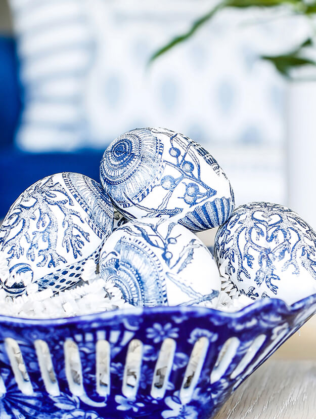 Blue and White Easter Egg Napkin Decoupage Decorating 2
