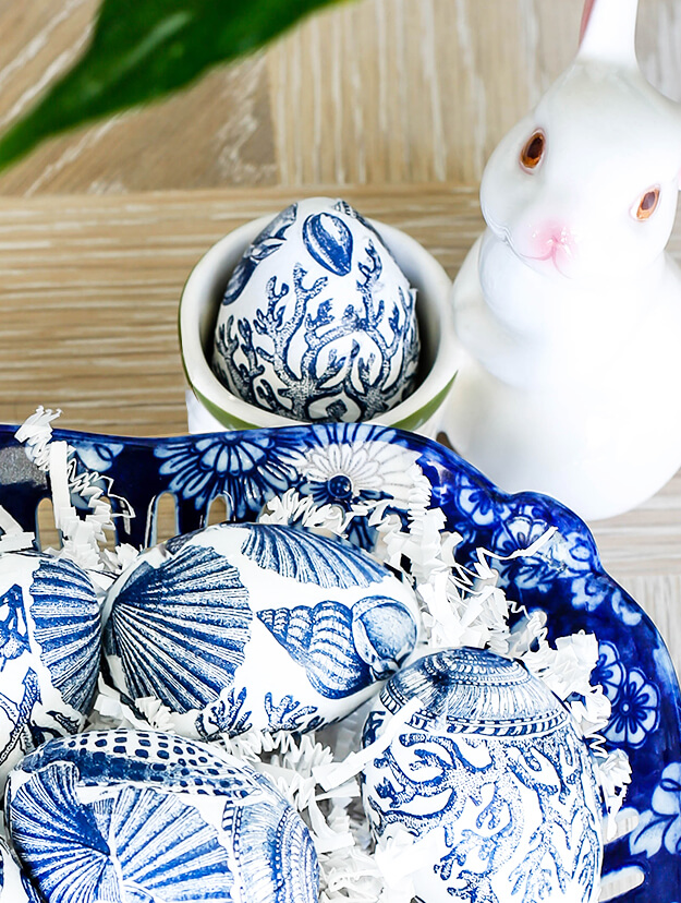 Blue and White Easter Egg Napkin Decoupage Decorating 3