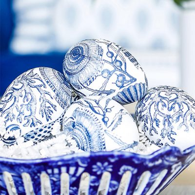 Blue and White Easter Egg Napkin Decoupage Decorating feature