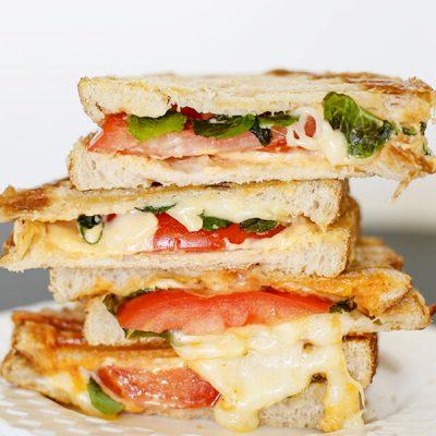 Havarti Mozarella Tomato Basil Sandwich
