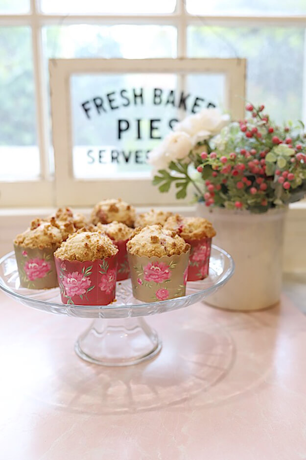 strawberry crumble muffins by My 100 Year Old Home