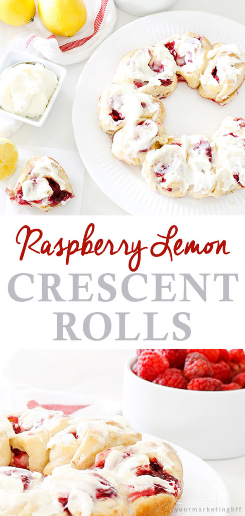 easy raspberry lemon crescent rolls with cream cheese frosting
