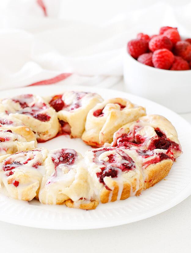 easy raspberry lemon crescent rolls with glaze