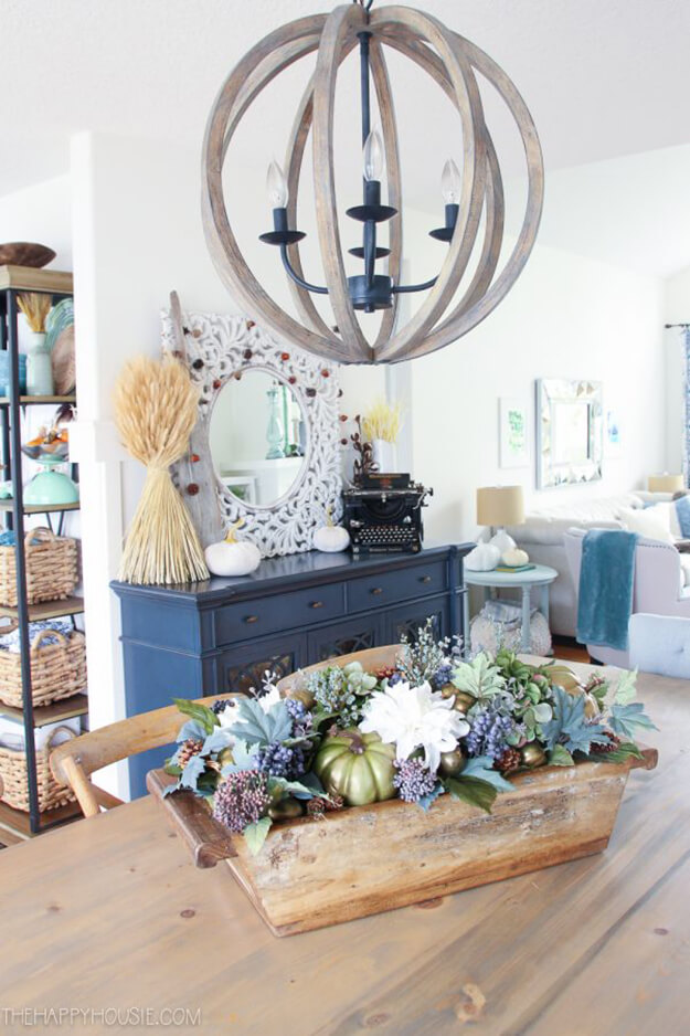 Fall decorating ideas neutral tones with a pop of color diy centerpiece -3